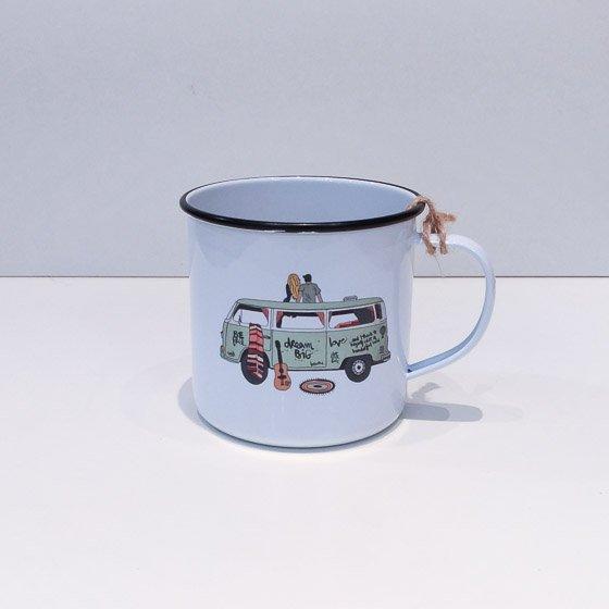mug tasse original vintage métal illustration hippie van yellow peak torréfacteur de cafés de spécialité